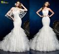 Mn-160 estilo sereia querida appliqued rendas e babados de organza casamento vestido de renda com bolero