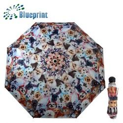 3 fold dog print animal print umbrellas