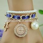 New design diamond pearl strap ladies bracelet watch
