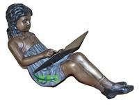 Bronze girl reading book garden statue