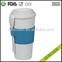 customized color USA market FDA/LFGB/EU wholesale reuseable personalized 16oz custom colorful drink cup soup pp mug with wrap