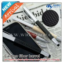 Carbon fiber touch screen pen with rollerball pen promotional Christmas gift