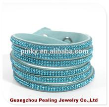(BR10235) Light Blue Color Famous Brand Bracelet 2 Wraps Of 6 Lines