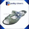2014 marca PVC geléia transparente flor superior sandália para meninas