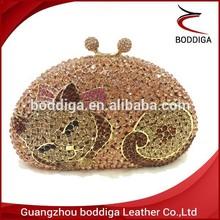 New Special Animal design clutch bag Cat shape crystal clutch bag #C111