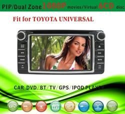 auto radio gps car dvd 1 din fit for Toyota Universal rav4 camry 2001 - 2008 with radio bluetooth gps tv pip dual zone