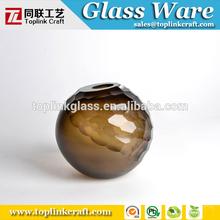 Handmade brown hexagonal diamond craved glass vase tableware Murano artwork for home decoration