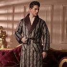 Winter Men's Robe Coffee Stripe Bathrobe Male Sleep Wear