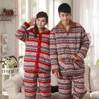 Winter Couple Pijamas Star Pattern Quilted Pajamas Sleepwear suit