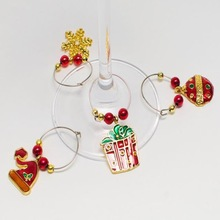 christmas celebration glass bottle charms ,set of 4