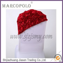 Satin rosette embroidery chair sash for wedding/hot sale embroidery rosette chair bow