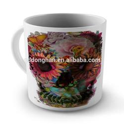 wholesale elegant ceramic Colourful Skull Flowers Mug Cup with oem design