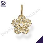 Brilliant flower design cz silver ladies set jewellery gold