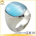la moda de acero inoxidable de la piedra preciosa azul piedra ajuste de el anillo del dedo diseños