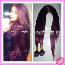 hot selling !!! color 99j burgundy silky straight weaving human hair weaving remy human hair extensions virgin brazilian hair