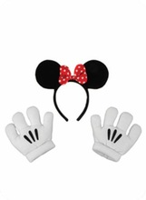 wholesale Mickey Minnie Mouse Ears Hat Headbands Black Red Bow QHBD-2071