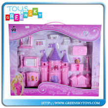 Kid Plastic Castle Doll House With Furniture