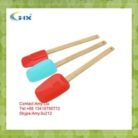 G-2015 Wholesale Manufacturer 3-pieces Colorful Silicone spatula with wooden handle,custom logo,Popular item,High quality