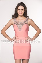 Peach color satin 2014 fall new scoop beaded low back see through western cocktail dress
