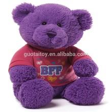 Purple soft plush & stuffed bear with t-shirts/plush soft toy