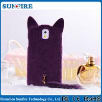 Fur Hair Phone Case Plush Mink Cat Soft Cover Cartoon Case for Samsung Galaxy Note 2 N7100 N7102 N7108 N719