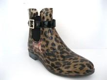 2015 High Profile Gorgeous Nice PVC Brown Leopard Woman Rain Boot