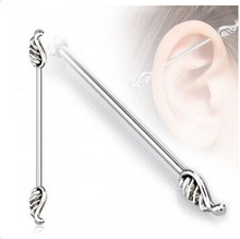 316L Surgical Steel Angel Wings Industrial Barbell Jewelry fake industrial piercing