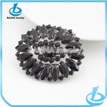 Top quality black flower rhinestone brooch for wedding dress