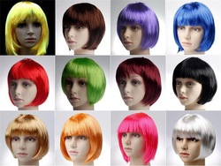 Halloween party wig,women's short synthetic hair wig,straight bob wig online shopping site