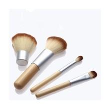 2014 HOT!! 4PCS Natural Bamboo Handle Makeup Brushes Set Cosmetics Tools Kit Powder Blush Brushes with Hemp linen bag