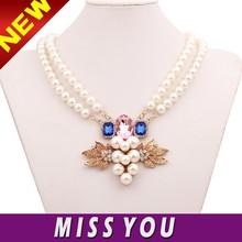 Luxury grape set glitter rhinestone modern pearl necklace design