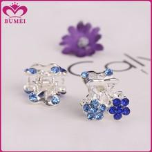 Two flower blue rhinestone mini hair claw clips