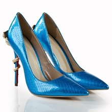 genuine leather shoes from china snake up heels small quantity women shoes 2015 lady shoes brands new design