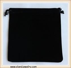 Handmade fashion custom jewelry pouch,8*10cm classic black gift bag