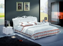 American furniture bed ivory white modern genuine royal leather bed