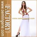 Atacado adulto shaper superior e longo branco split vestido de fantasia de cleópatra, traje egípcio com chapelaria