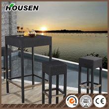 Modern stainless steel Rattan Bar Furniture Set Bar Chair garden furniture DC