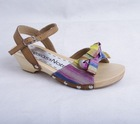 wood SANDALS CLOG SHOES FOR KIDS for 2015 with multi color bow