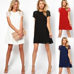 2015 western ladies fashion short sleeve dress lace patchwork woman elegant sexy chiffon dresses