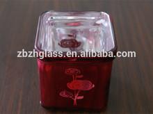 Red rose flower design square glass vase for Chrismas day