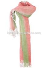 winter hot sal ombre 100% linen muslim hijab/pashmina/stoles