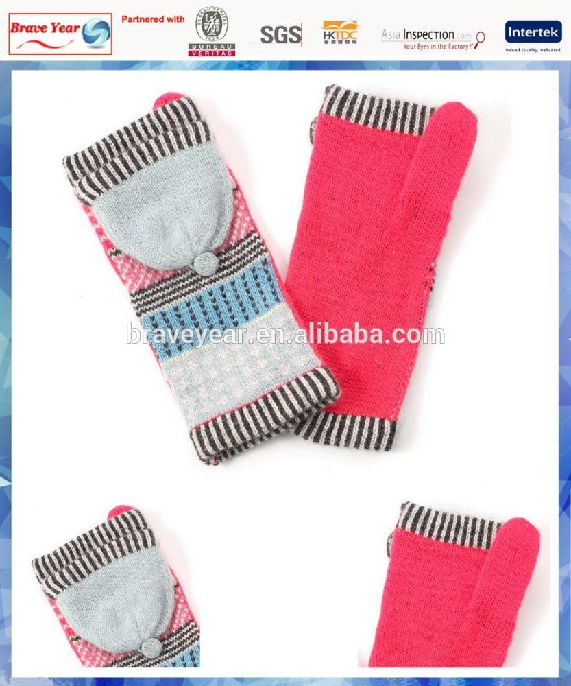 pink fairisle knitting women fingerless gloves with cover and one finger