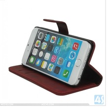 fold stand shock-resistant leather case for iphone 6 custom case with wallet and credit card slot for 4.7 inch mobile phone