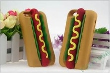 New Style Unique 3D Hot Dog Silicone Mobile Phone Case For iPhone 5 ,For iphone 4 From Alibaba China