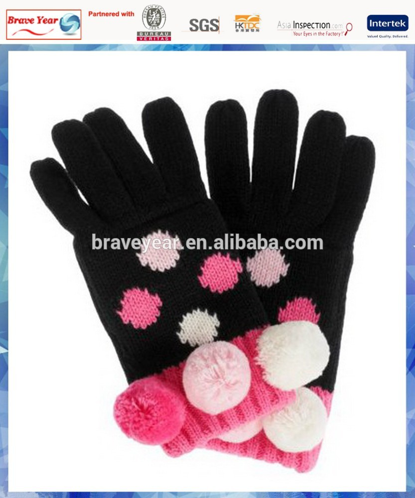 100% acrylic spotty kid's knitted gloves with cute pom pom
