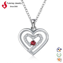952 silver jewelry cheap fashion heart shaped locket necklace FN598