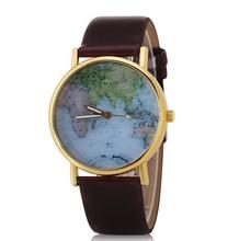 Unisex map watches around the word globe watch women