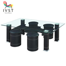 faux pvc leather glass coffee table with stools
