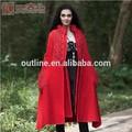卸売最高品質の小さい順序ターン- ダウン襟刺繍アウト中空赤ウールコート
