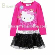 OEM girl dress long sleeve hello cat red and black dress for children girl-dress-of-9-years-old